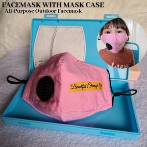 Kids Face Mask with Vent Pink Child Face Shield